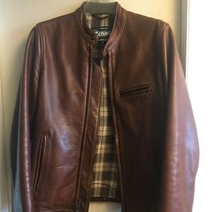Brown leather jacket_Schott NYC_Made in USA